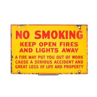 "Antique Yellow Porcelain ""No Smoking"" Sign"