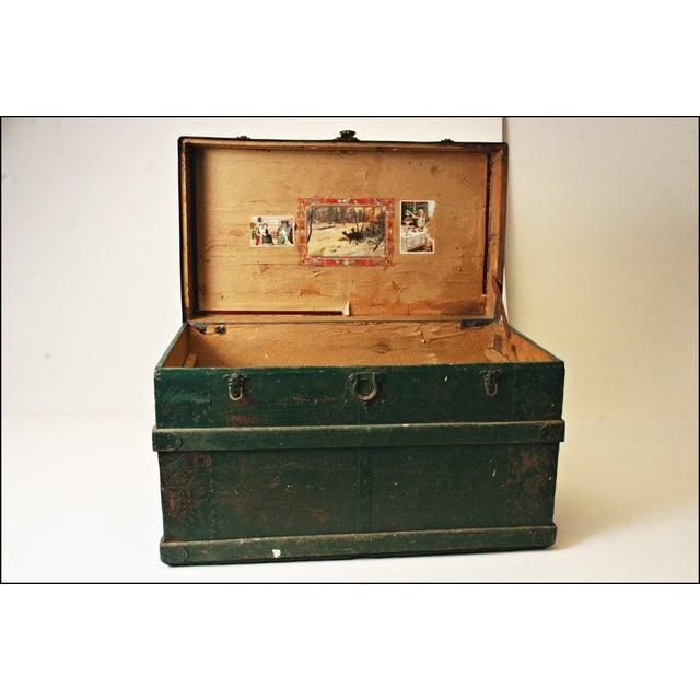Vintage Industrial Green Wood Steamer Trunk - Image 7 of 11