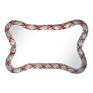 Candy Cane Murano Mirrored Tray