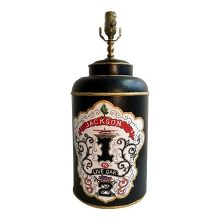 English Export Black Tea Caddy Lamp With Crest Design