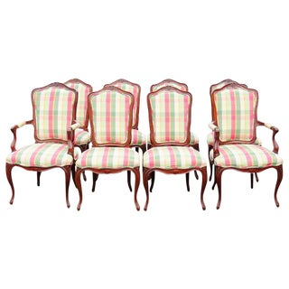 Country Frenchy Style Carved Walnut Dining Chairs - Set of 8