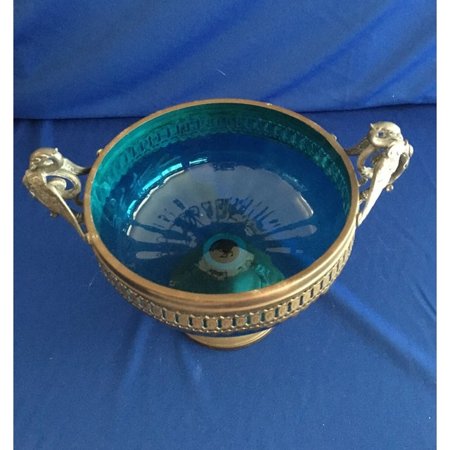 Blue Glass Compote with Dragon Handles - Image 8 of 10