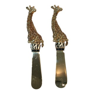 Gold Giraffe Cheese Spreaders - A Pair