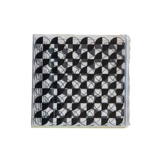 Vintage Lucite Cube With Black Checker Art