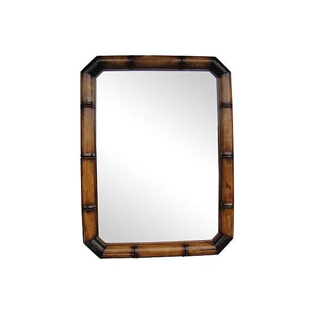 McGuire Faux Bamboo Wood And Leather Mirror - Image 1 of 6