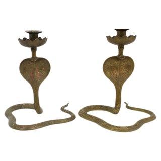 Brass Cobra Candleholders - a Pair