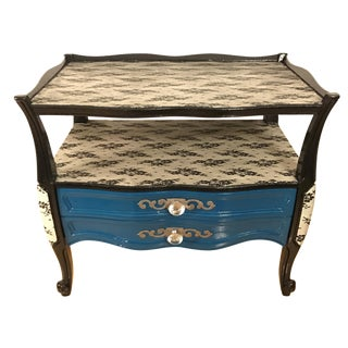 Peacock Blue and Lace Accent Table