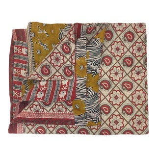 Red and White with Gold Rug and Relic Kantha Quilt