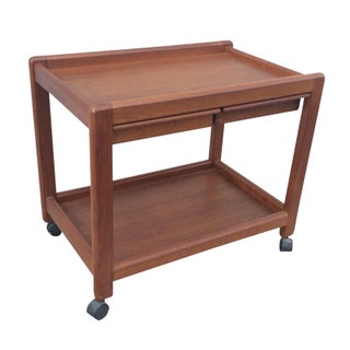Danish Modern Teak Bar Cart with Drawers