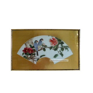 Fan Shape In Frame Embroidery Birds And Flowers Wall Hanging Art