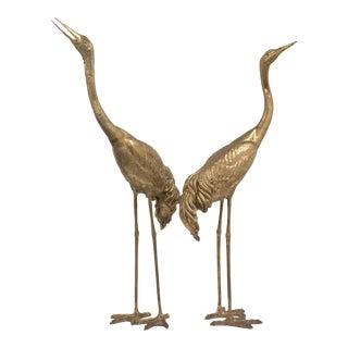 A Tall Pair of Bronze Crane Floor Standing Sculptures 1970s