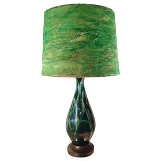 Mid-Century Green Ceramic Lamp & Handpainted Shade