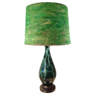 Mid-Century Green Ceramic Lamp & Handpainted Shade