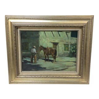 """Cowboy Bringing Flowers"" Vintage Oil Painting"