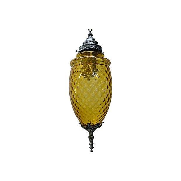 Amber Glass Pendant Lamp - Image 7 of 7