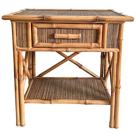 Vintage Bamboo Amp Grasscloth Side Table Chairish
