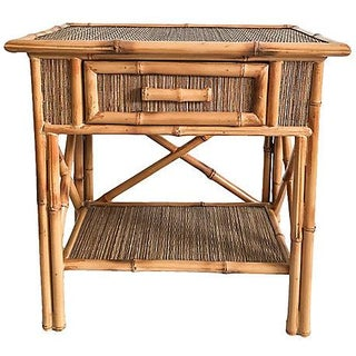 Vintage Bamboo & Grasscloth Side Table