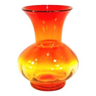 Mid-Century Blenko Tangerine Art Glass Vase