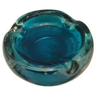 Mid-Century Italian Aqua Bubble Glass Dish