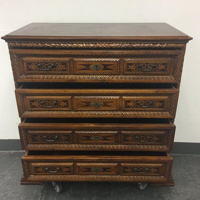 Vintage Carved & Inlaid 4 Drawer Dresser - Image 7 of 9