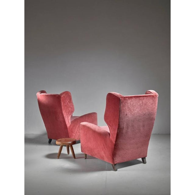 Paolo Buffa Pair of Soft Coral Red Wingback Lounge Chairs, Italy, 1940s - Image 5 of 6