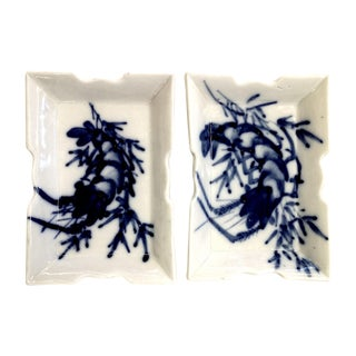 Antique Porcelain Lobster Decorated Trays - Pair