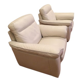 Natuzzi Leather Power Reclining Chairs - A Pair