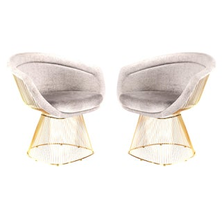 Pair of Mid-Century Style Gold Lounge Chairs