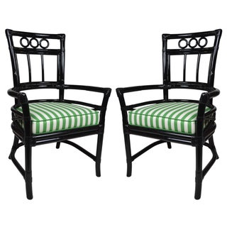 Ficks Reed Colony Black Rattan Armchairs - a Pair