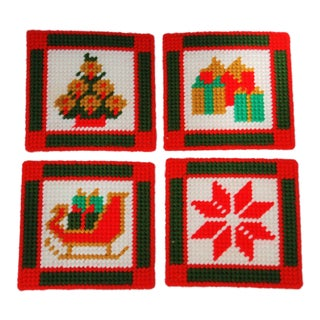 Vintage Handmade Needlepoint Holiday Coasters - Set of 4