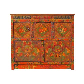 Tibetan Dragon Peony High Table Cabinet