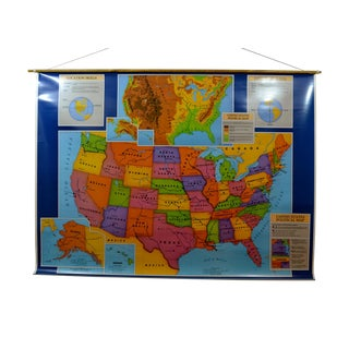 Hanging School House Map of USA