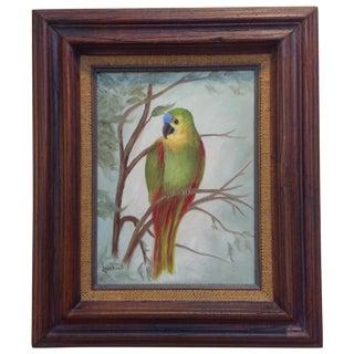 Tropical Bird in a Tree, Framed Oil on Canvas