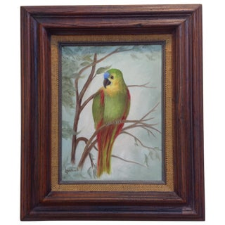 Tropical Bird in a Tree, Framed Oil on Canvas