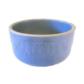 Art Deco Periwinkle Blue Glazed Stoneware Bowl