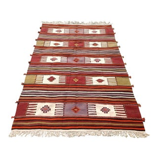 Vintage Turkish Kilim Rug - 4′10″ × 8′