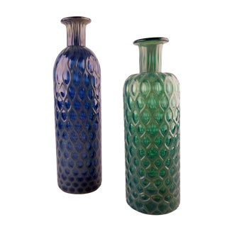 Green and Blue Hand Blown Glass Vases Set of 2