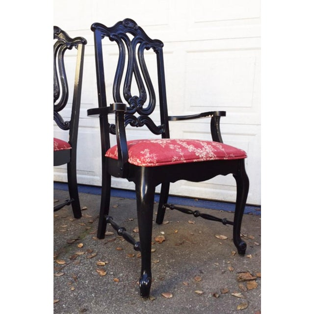 Hollywood Regency Chinoiserie Red Toile Black Louis French Dining Chairs - 6 - Image 3 of 11
