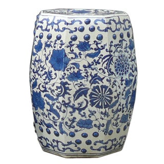Blue and White Porcelain Flower Stool Table