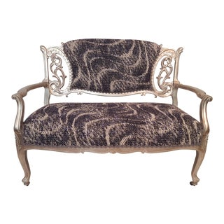 Antique Scrolled Silver Settee