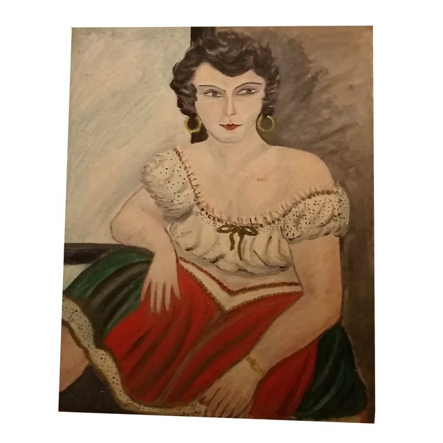 Image of Vintage Campy Woman Oil Painting