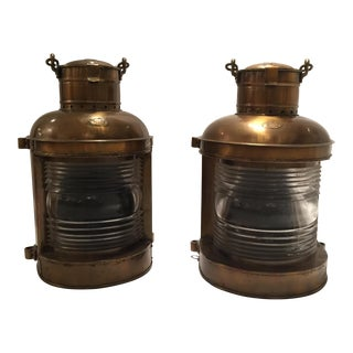 Antique Copper Nautical Coastal Lanterns - A Pair