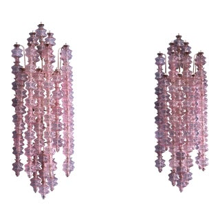 Gino Sarfatti Pair of Unique Pink Murano Glass Wall Appliques, Italy, 1961