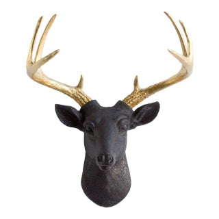 Black & Gold Faux Mini Deer Head Bust by Wall Charmers