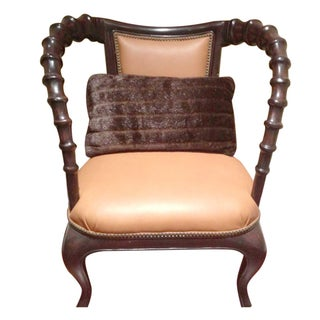 East African Chair with Brown Leather