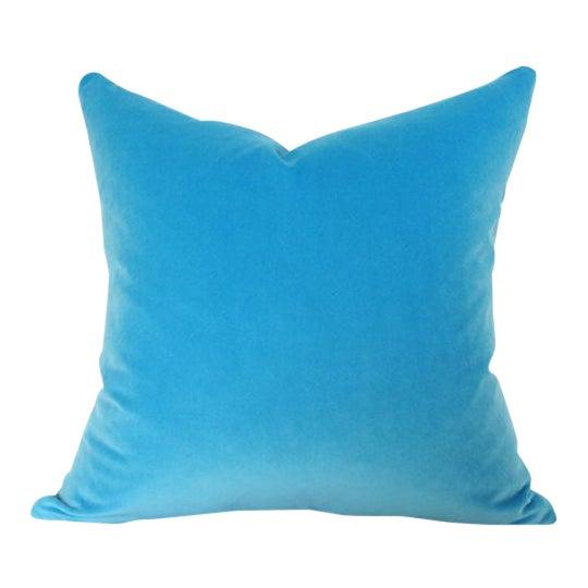 Capri Blue Velvet Pillow Cover - Image 1 of 3