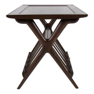 Sculptural Pair of X Base Mahogany Side Tables