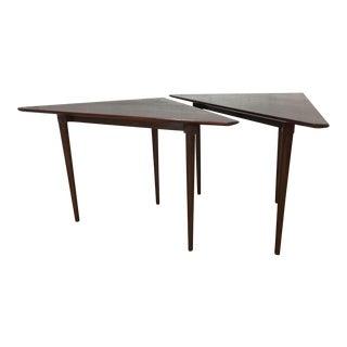 Dunbar Mahogany Triangular Side Table - A Pair