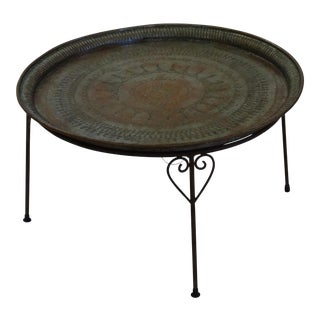 Antique Moroccan Aged Brass Tray Coffee Table