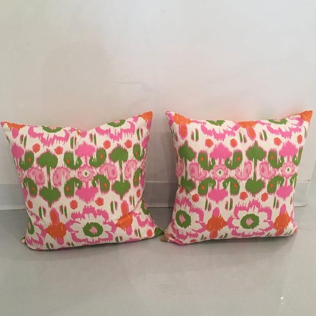 Pink, Orange & Green Ikat Pillows - A Pair - Image 3 of 6